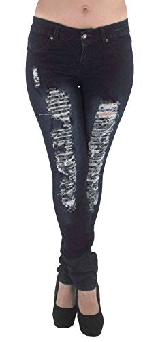 Pantalones Colombianos Plus Size Mid Waist Colombian Design Butt lift Ripped Skinny Jeans in Washed Dark Blue REF. M486P - Fajas Colombianas Shapewear