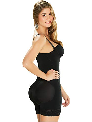 DIANE & GEORDI 2396 Fajas Colombianas Mid Thigh Powernet Shapewear for Women Black - Fajas Colombianas Shapewear