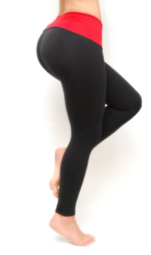 Leggings for Woman Bon Bon Up With Internal Body Shaper -Butt Lifter-Medium-Black & Red - Fajas Colombianas Shapewear
