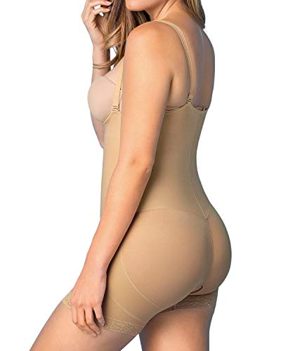 Fajas Colombianas Leonisa Womens Strapless Compression Bodysuit Slimming Shaper Short With Booty Lifter Beige - Fajas Colombianas Shapewear