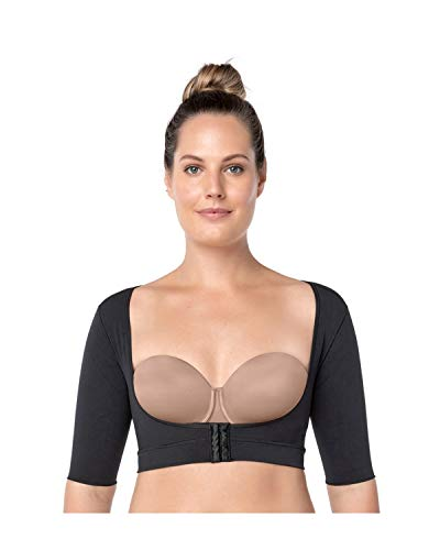 Leonisa Seamless Upper Arm Shaper Slimming Compression Vest with Posture Corrector, Black - Fajas Colombianas Shapewear