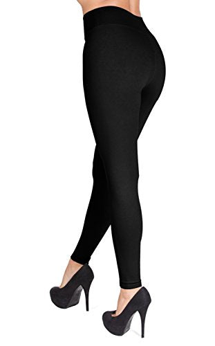 SATINA High Waisted Leggings - 22 Colors - Super Soft Full Length Opaque Slim (One Size, Black) - Fajas Colombianas Shapewear