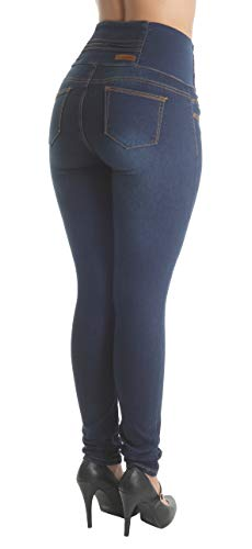 Pantalones Colombianos Fashion2Love Butt Lift Elastic High Waist Skinny Jeans in Navy - Fajas Colombianas Shapewear