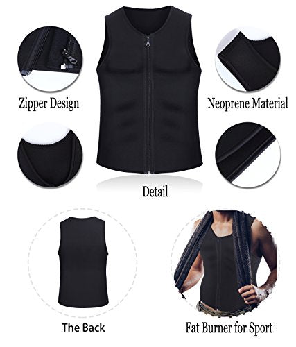 Men Waist Trainer Vest for Weightloss Hot Neoprene Corset Body Shaper Zipper Sauna Tank Top Workout Shirt - Fajas Colombianas Shapewear