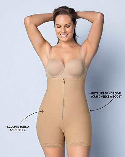 Fajas Colombianas Leonisa Women's Strapless Compression Bodysuit Slimming Shaper Short with Booty Lifter Black - Fajas Colombianas Shapewear