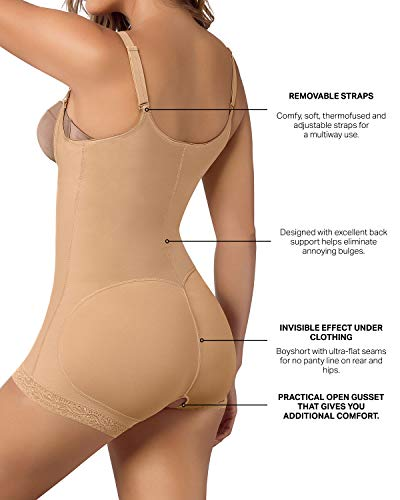 Fajas Colombianas Leonisa Women's Slimming Braless Firm Tummy Compression Body Shaper in Boyshort with Rear Lift, Beige - Fajas Colombianas Shapewear