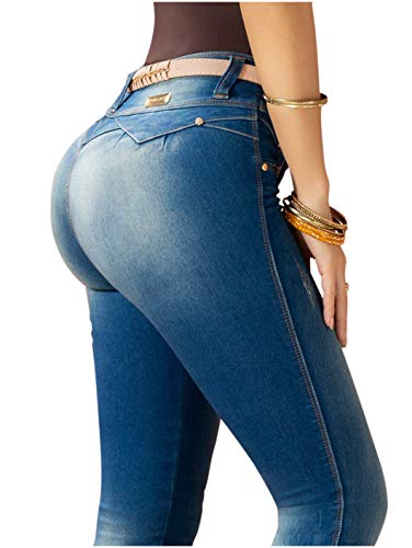 Pantalones Colombianos LT.Rose by Draxy Women Hot Skinny Butt Lifter Jeans | Jeans Levanta Cola Blue REF. 1325 - Fajas Colombianas Shapewear