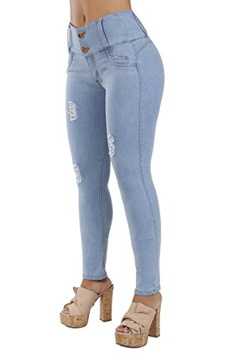Pantalones Colombianos Curvify  Premium Women's Enhanced Butt Liftting Skinny Jeans SkyBlue REF. 765 - Fajas Colombianas Shapewear