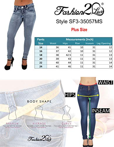 Pantalones Colombianos Fashion2Love Plus Size, Colombian Design, Butt Lift, Skinny Jeans in Washed Blue - Fajas Colombianas Shapewear