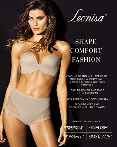 Leonisa Womens Seamless High Waist Shapewear with Thigh Compression, Beige - Fajas Colombianas Shapewear