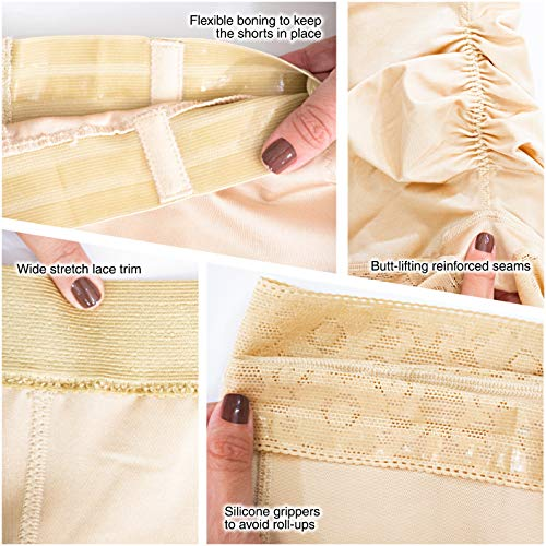 M&D 0216 High Waist Body Shaper Butt Lifter Slimmer Shorts | Fajas Levanta Cola Beige - Fajas Colombianas Shapewear