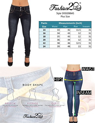 Pantalones Colombianos Fashion2Love Plus Size High Waist, Butt Lifting, Skinny Leg Jeans in Washed Black - Fajas Colombianas Shapewear