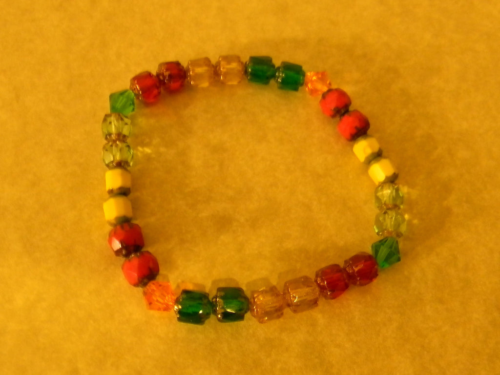 Red, Yellow and Green Cathedral Bead and Crystal Stretch Bracelet