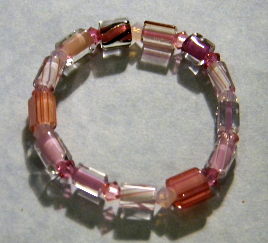 Pink Furnace Cane Bead and Crystal Bicone Stretch Bracelet