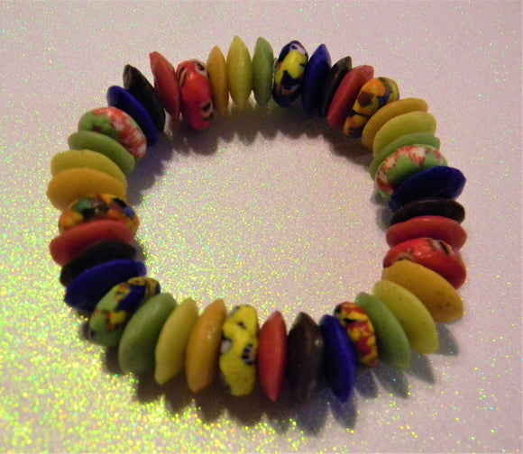 Multicolor Ashanti Glass Disk and Krobo Doughnut Stretch Bracelet