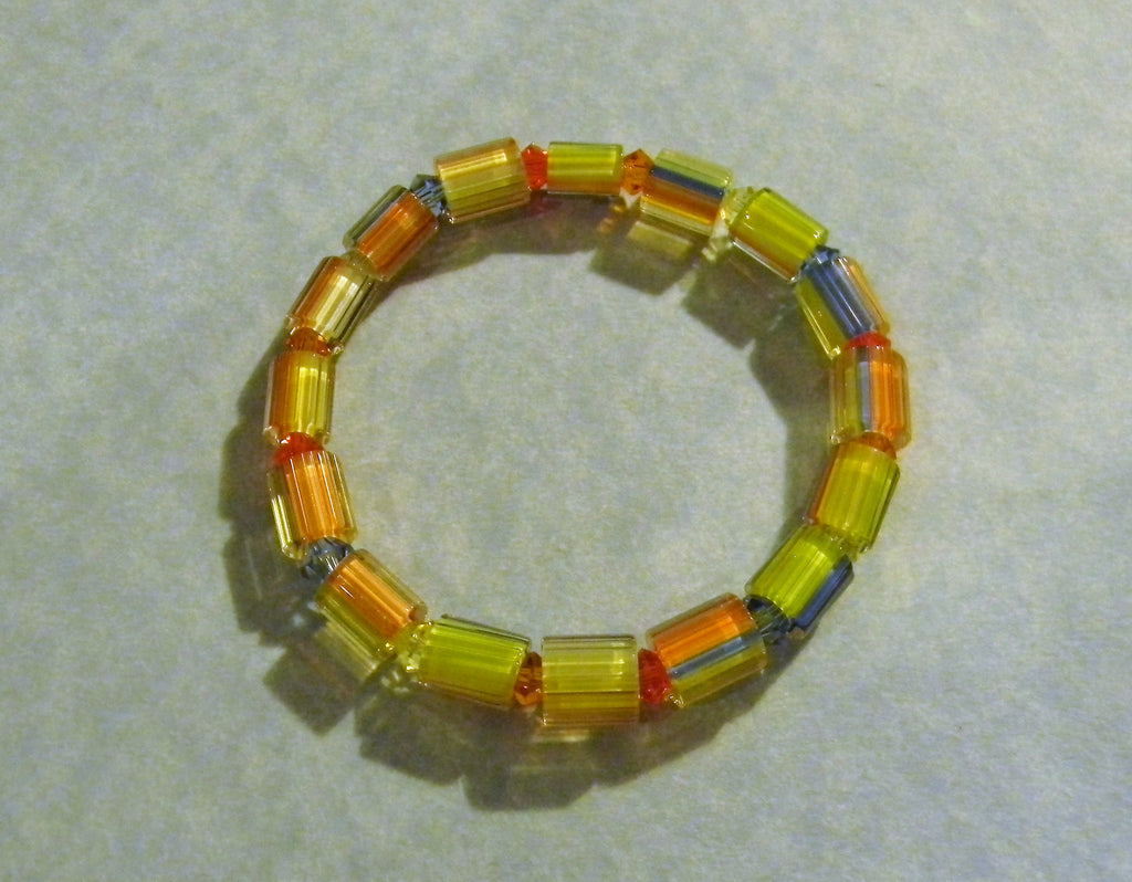 Yellow and Pastel Furnace Cane Bead and Crystal Stretch Bracelet