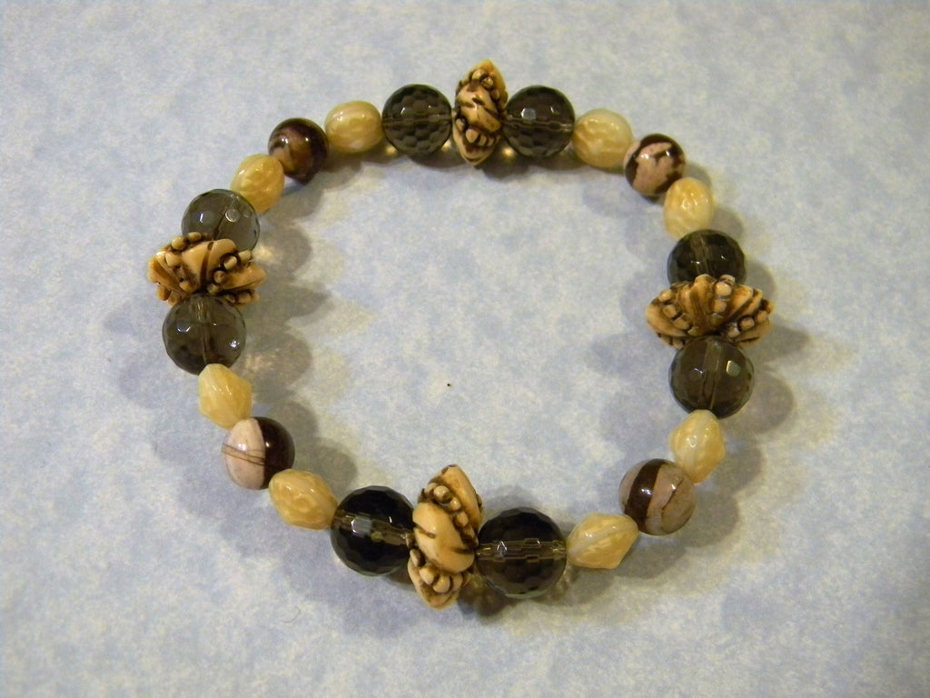 Beige and Brown Carved Bone, Gemstone and Pressed Glass Stretch Bracelet