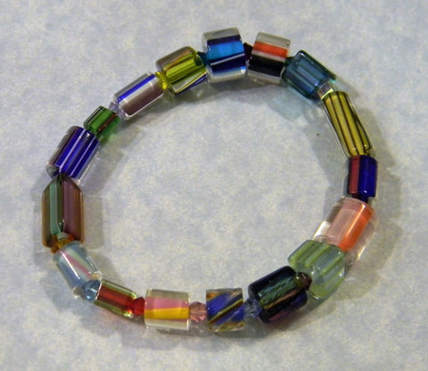 Rainbow Furnace Cane Bead Stretch Bracelet with Multicolor Crystals