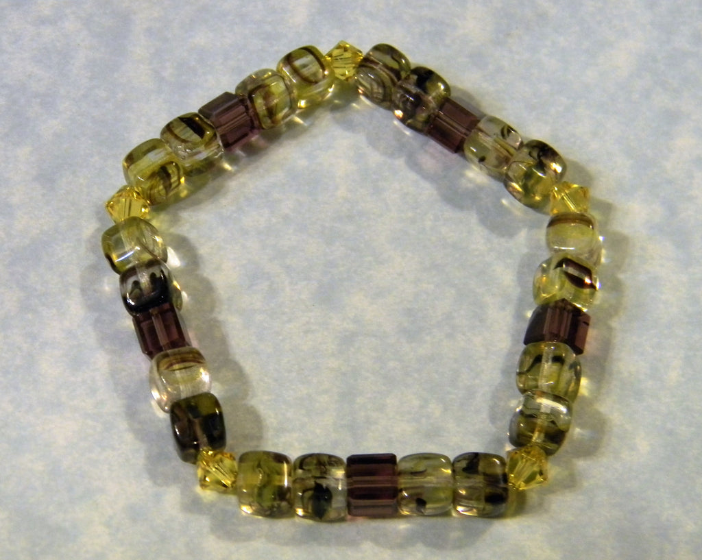 Yellow and Purple Givre Bead and Crystal Stretch Bracelet