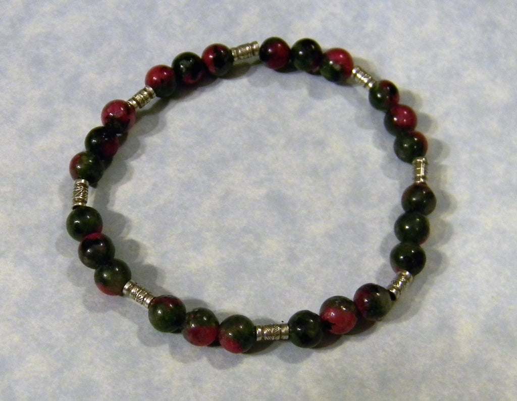 Ruby Zoisite and Hill Tribe Silver Tube Stretch Bracelet