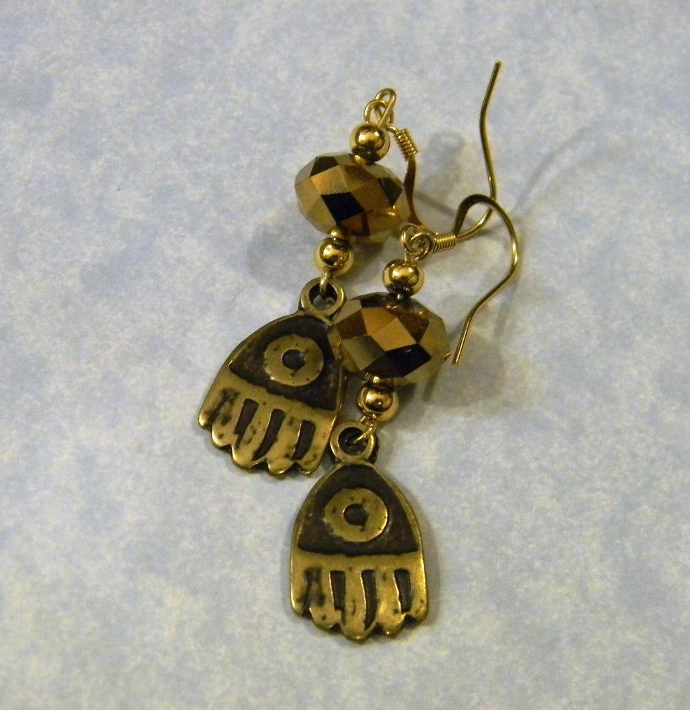 Evil Eye Hamsa Charm, Faceted Glass and Gold Bead Drop Earrings