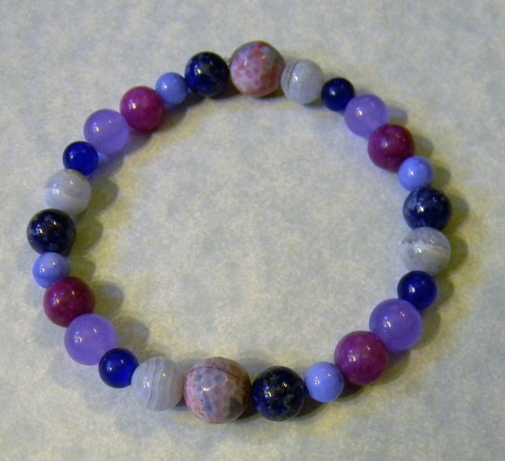 Shades of Blue and Purple, Dyed Agate, Dyed Jade and Dyed Shell Stretch Bracelet