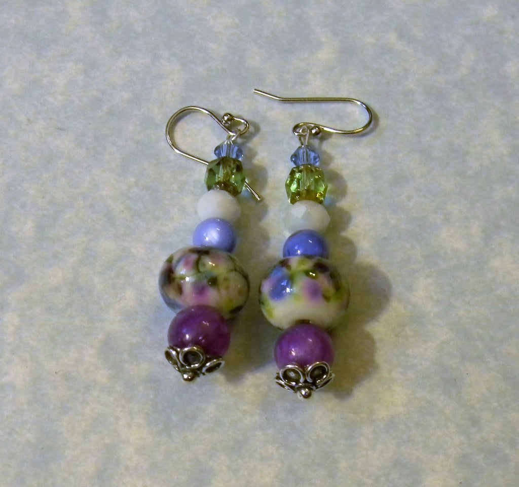 Monet Water Lily Art Glass Lampwork, Gemstone and Crystal Drop Earrings