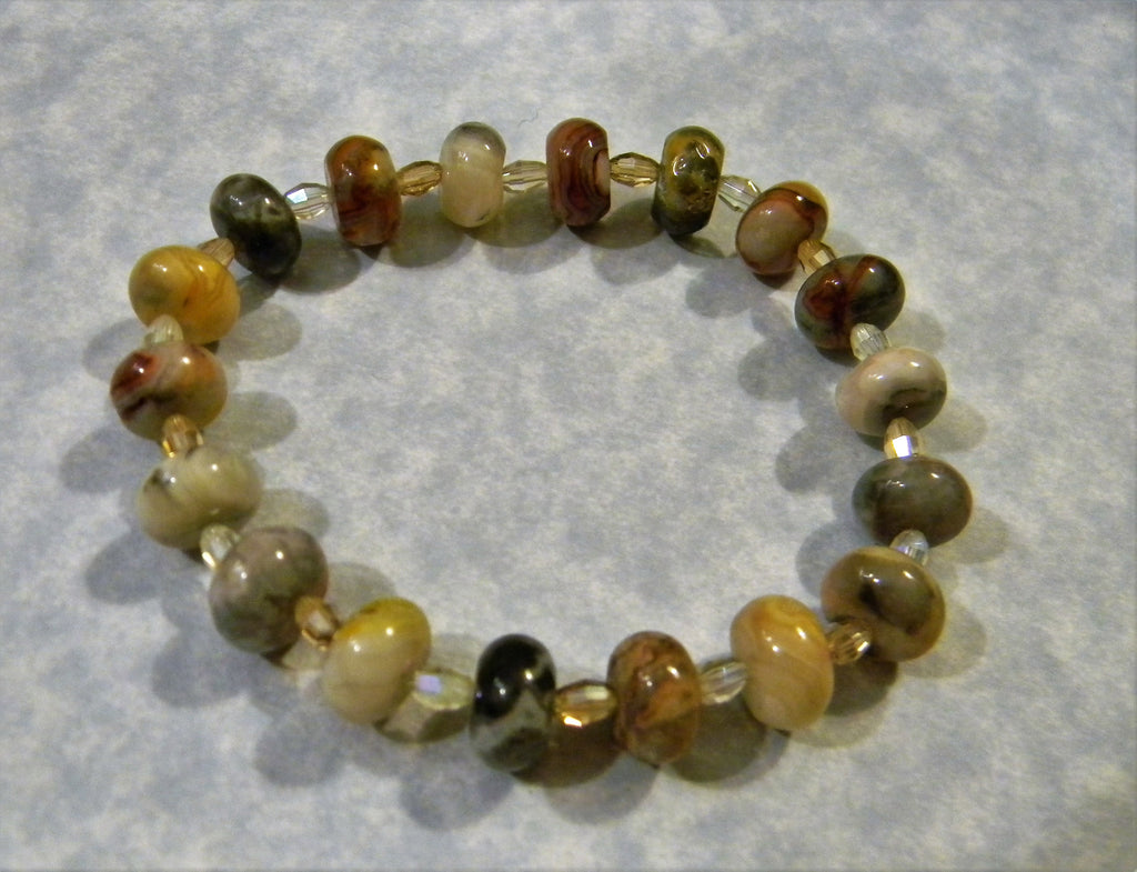 Crazy Agate and Faceted Glass Stretch Bracelet