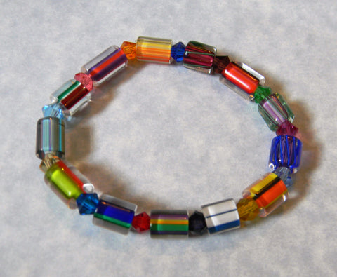Multicolor Rainbow Furnace Cane Bead and Crystal Stretch Bracelet