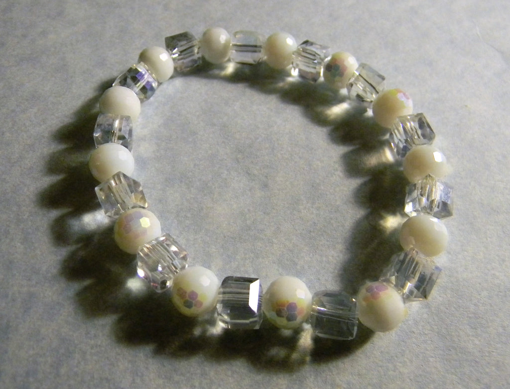 Iridescent White and Clear Glass Bead Stretch Bracelet