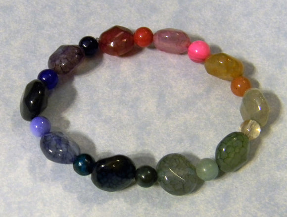 Jewel Tone Rainbow Cracked Agate and Opaque Gemstone Round Stretch Bracelet