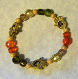 Autumn Colored CZ, Cathedral Bead, Gold Bead and Golden Hamsa Bead Frame Stretch Bracelet