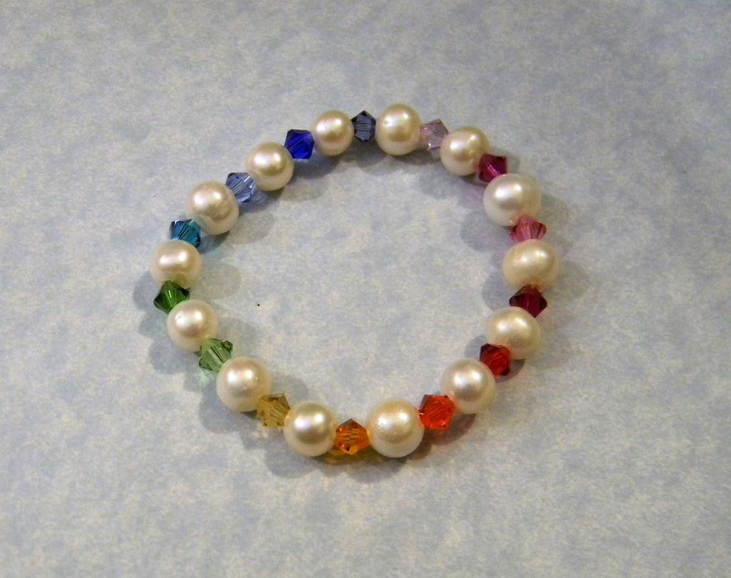 Freshwater Pearl and Multicolor Rainbow Crystal Stretch Bracelet