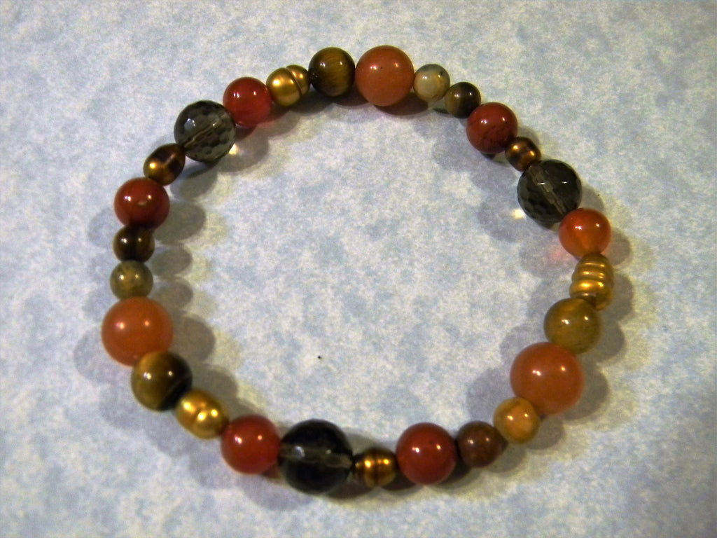 Shades of Brown, Gold and Orange Opaque Gemstone Stretch Bracelet