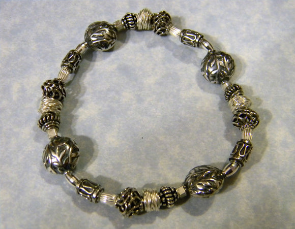 All Silver Bali Bead, Thai Karen, and Sterling Bead Bracelet