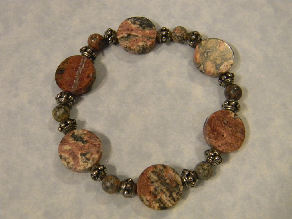Leopard Jasper Disc and Bali Dotted Silver Bead Stretch Bracelet