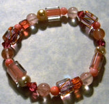 Coral and Pink Furnace Cane Bead, Gemstone and Crystal Stretch Bracelet