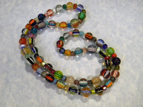 Multicolor Furnace Cane Bead and Cathedral Bead Necklace