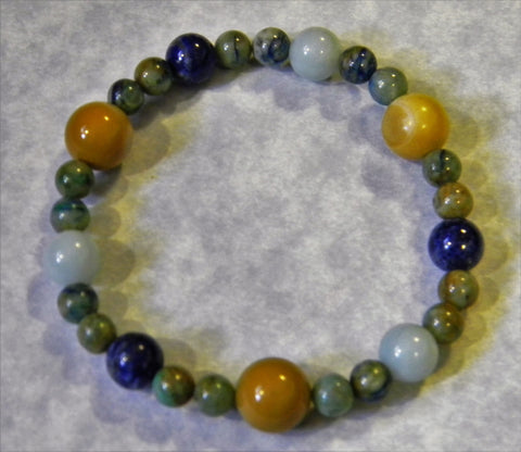 Blue, Green and Gold Opaque Gemstone Stretch Bracelet