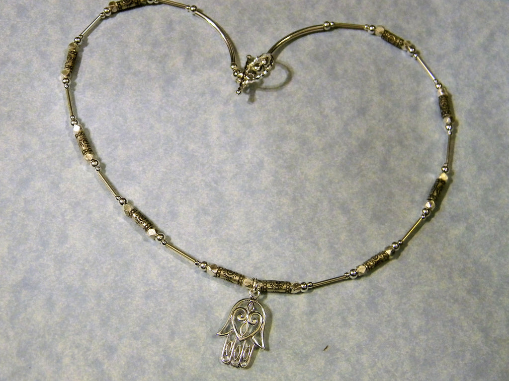 Delicate Silver Hamsa Pendant on Thai Karen Stamped Tube and Silver Necklace