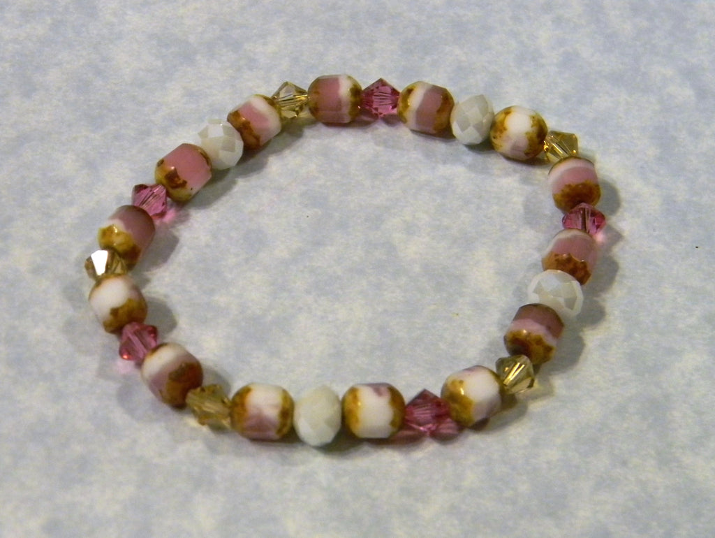 Pink, Gold and White Cathedral Bead, Crystal and Faceted Glass Stretch Bracelet