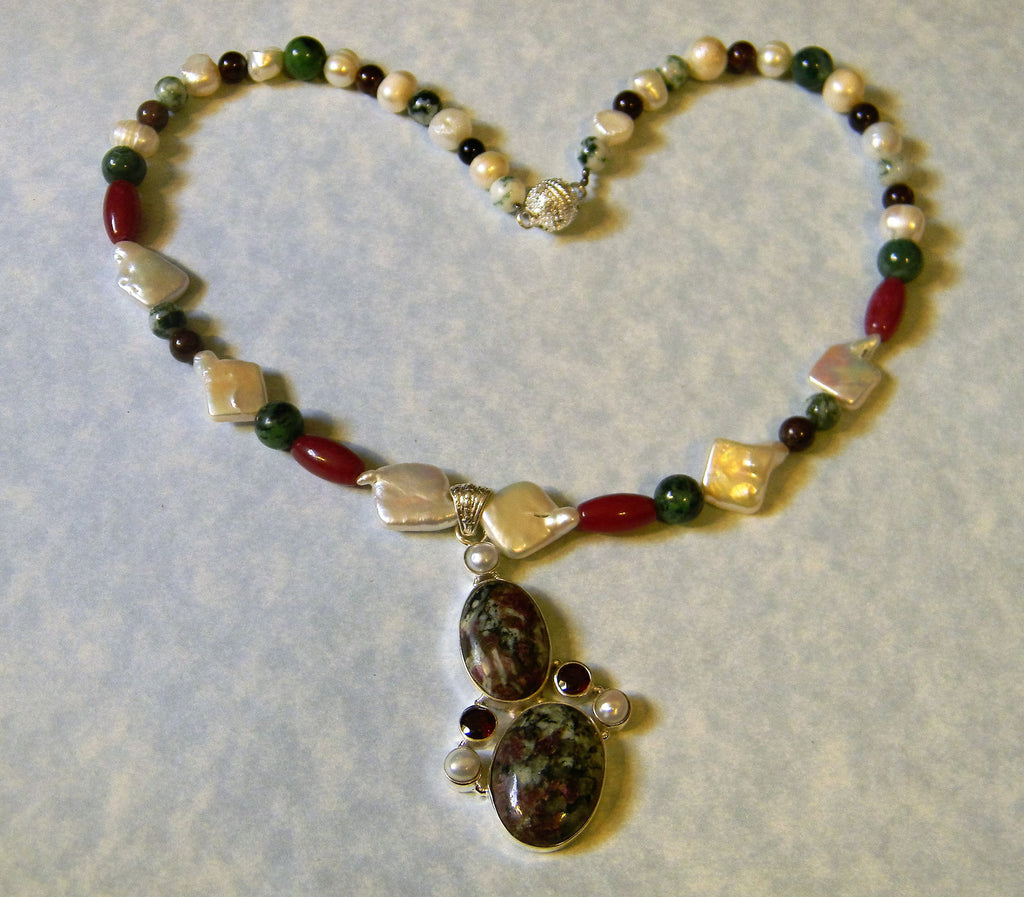 Eudialyte, Garnet, Pearl, Agate and Jasper Pendant Necklace
