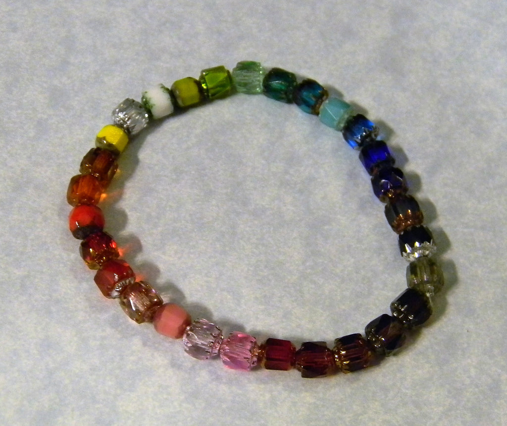 Rainbow Multicolor Cathedral Bead Stretch Bracelet