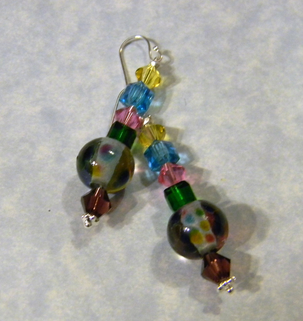 Rainbow Multicolor Art Glass Lampwork and Crystal Drop Earrings