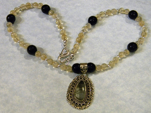 Tourmilated Quartz, Citrine, Onyx and Silver Pendant Necklace