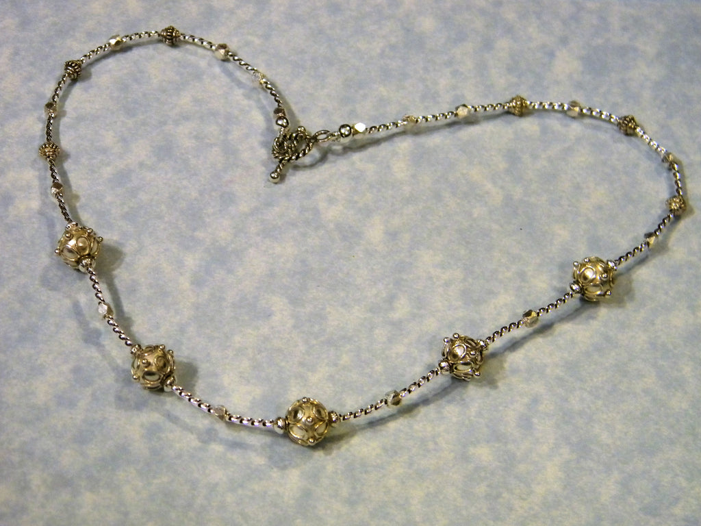 Bali Style and Sterling Silver Bead and Twisted Tubed Necklace