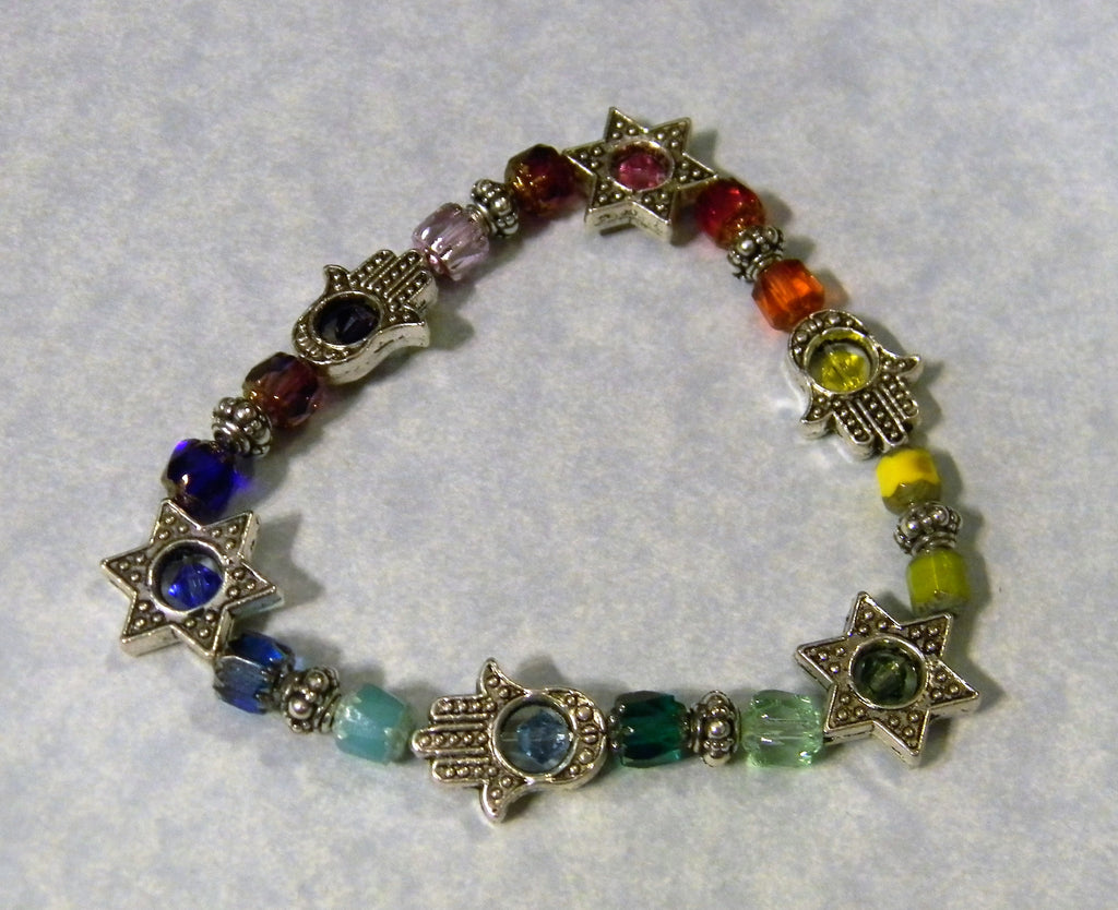 Rainbow Multicolor Cathedral Bead, Crystal and Hamsa & Jewish star Bead Frames Stretch Bracelet