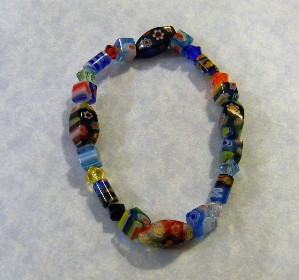 Rainbow Multicolor Mulltishaped Millefiori and Crystal Stretch Bracelet