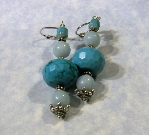 Amazonite, Turquoise Cathedral Bead and Bali Silver Drop Earrings