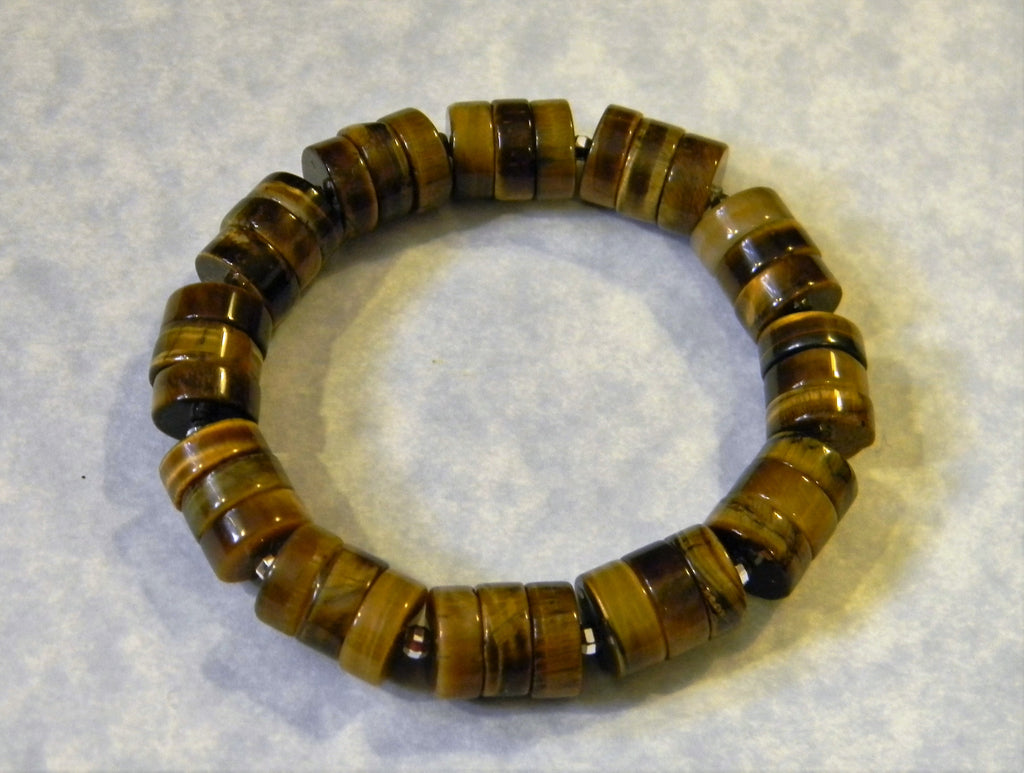 Large Tigers Eye Rondel and Mirror Ball Silver Stretch Bracelet